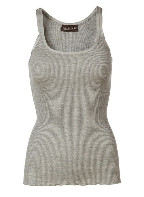 Rosemunde Silk Top Reg. Elastic band Light Grey