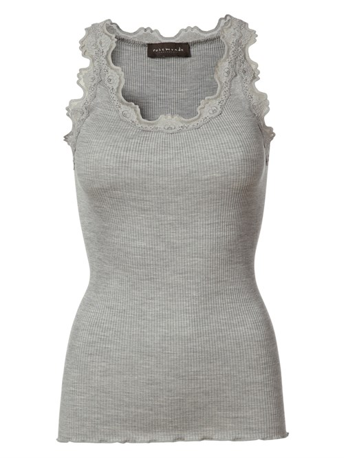 Rosemunde Silk Top Reg. Vintage lace Light Grey