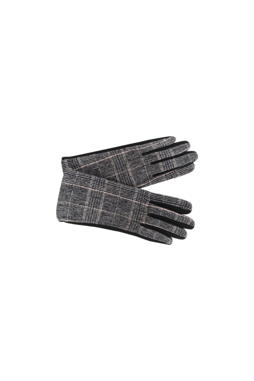 Black Colour Minny Checkered Gloves
