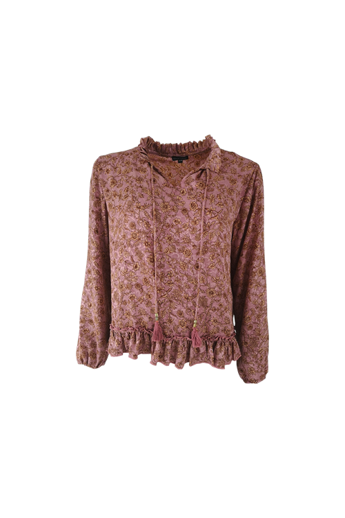 Black Colour Luna Ray Blouse Rose