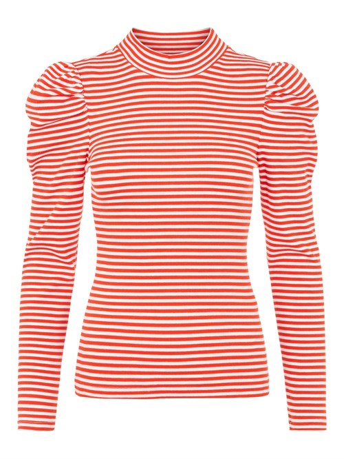 Pieces Anna Thin Striped T-Neck Top - 4 farver
