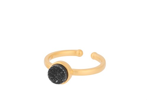 Pernille Corydon Small Ash Ring Adj, Black Druzy 6 mm Forgyldt